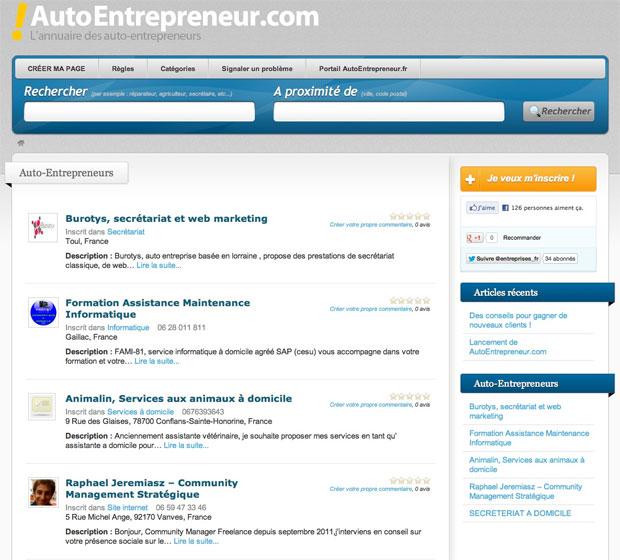 accueil annuaire auto entrepreneur