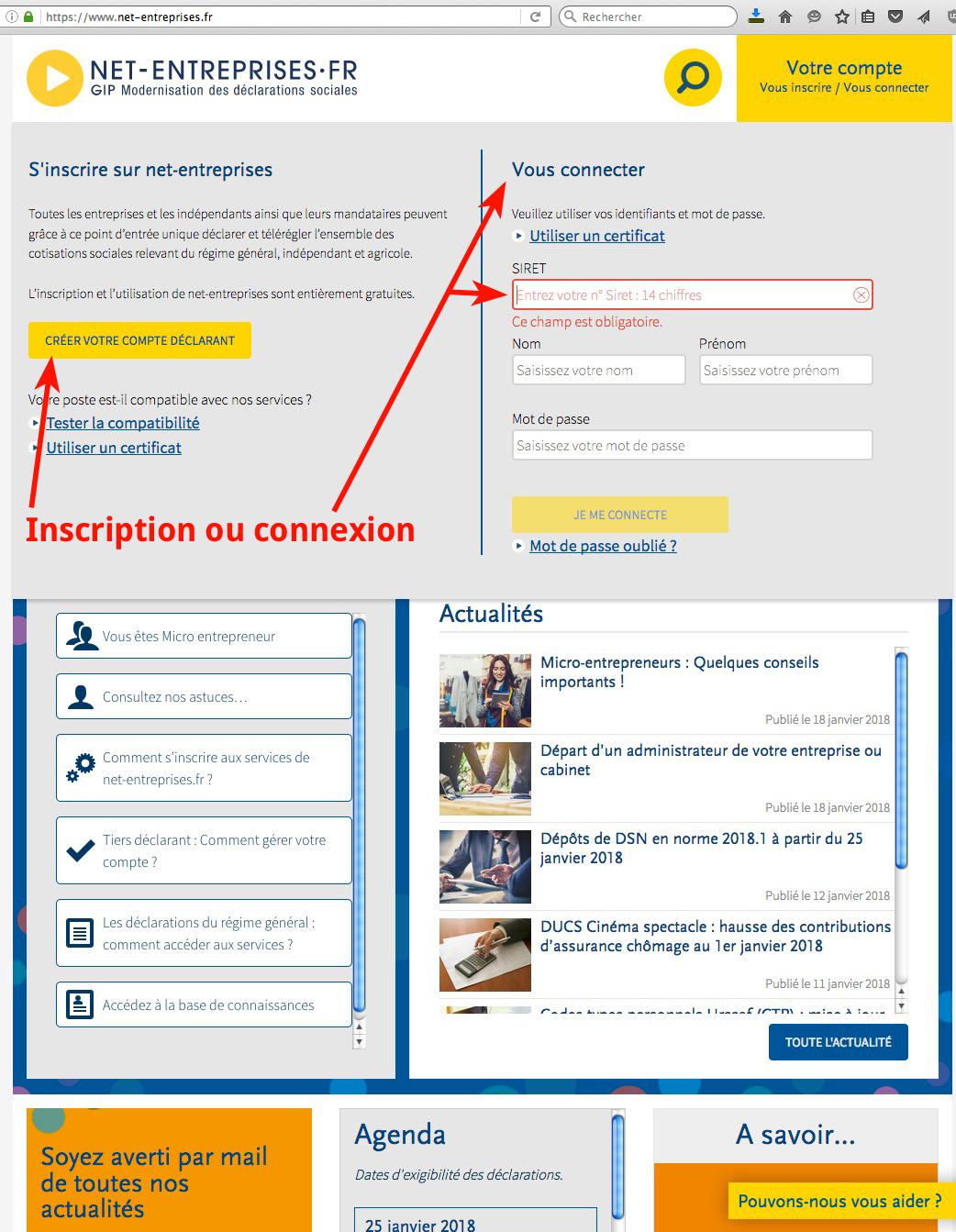 Connexion net-entreprises.fr auto entrepreneur